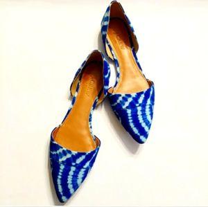 J.Crew Sloan D'Orsay Blue White Tie Dye Flats